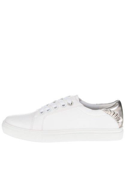 Bílé koženkové tenisky s detaily ve stříbrné barvě Dorothy Perkins