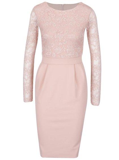 Rochie roz pal Goddiva cu detalii din dantelă
