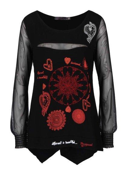 Čierne tričko s priehľadnými dlhými rukávmi Desigual Sara