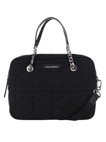 Čierna kožená crossbody kabelka s detailmi v striebornej farbe KARL LAGERFELD