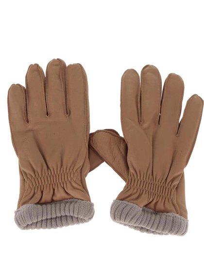 Béžové kožené rukavice Jack & Jones