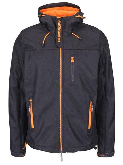 Tmavě šedá pánská bunda s oranžovými detaily Superdry