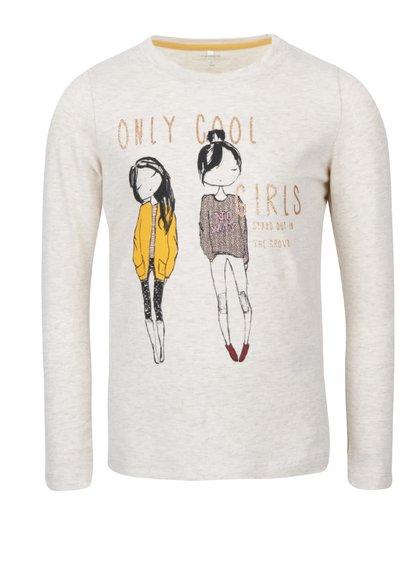 Krémové dievčenské tričko s dlhým rukávom a potlačou name it Katty