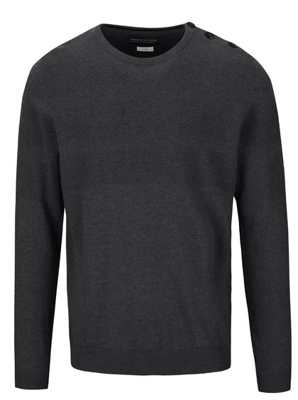 Tmavě šedý pánský svetr s knoflíky Jack & Jones