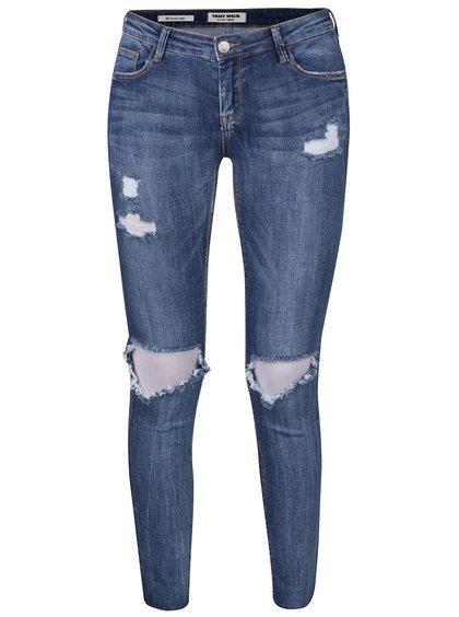 Modré skinny džíny s potrhaným efektem TALLY WEiJL