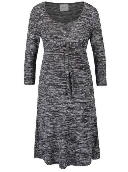 Šedo-černé žíhané těhotenské šaty s 3/4 rukávy Mama.licious Hino