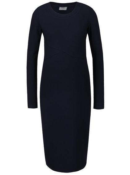 Tmavě modré žebrované těhotenské šaty s dlouhým rukávem Mama.licious Senia