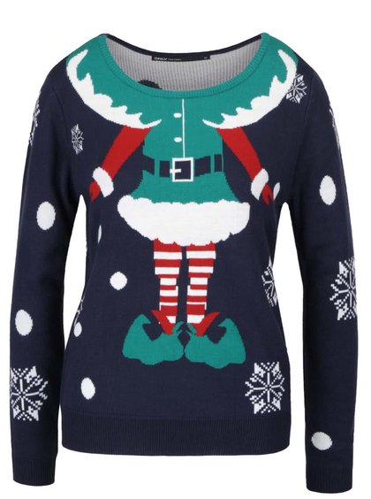 Tmavomodrý sveter s vianočným motívom ONLY Elfie