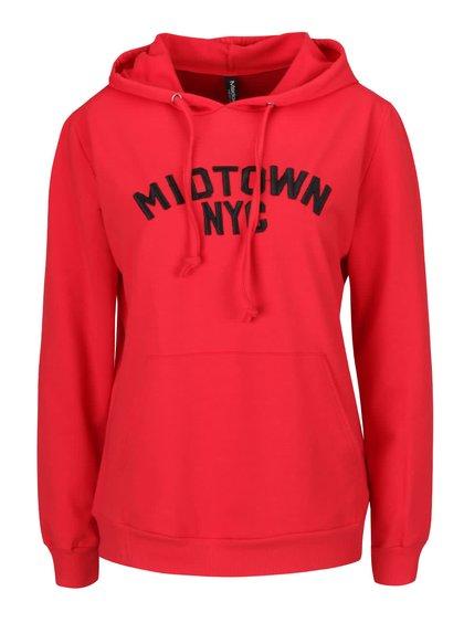 Červená tenká mikina s nápisom Madonna