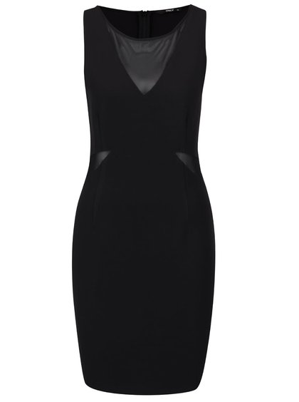 Černé šaty s průsvitnými detaily ONLY Mafer
