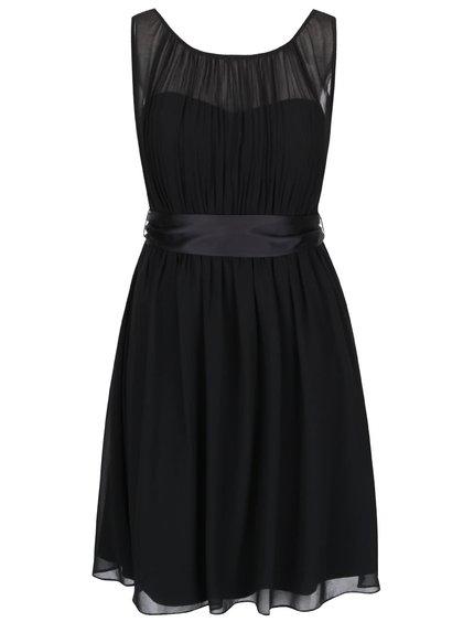 Černé šaty s průsvitným dekoltem a stuhou v pase Dorothy Perkins