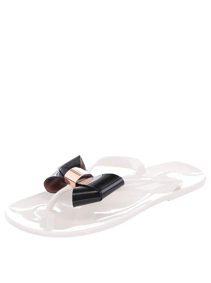 Krémové plastové žabky s čiernou mašľou Ted Baker Ettiea
