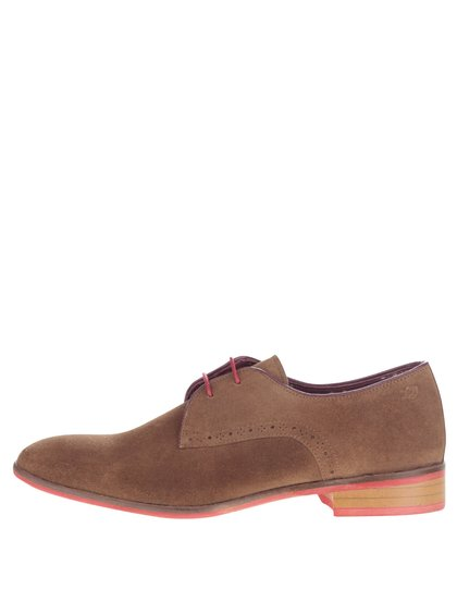 Pantofi negri Croxley London Brogues din piele întoarsă