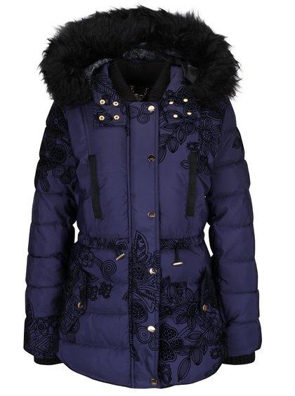 Tmavě modrý prošívaný kabát s kožíškem Desigual Ada