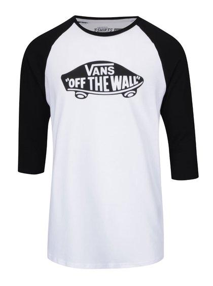 Bluză alb & negru Vand Raglan cu print și mâneci trei sferturi
