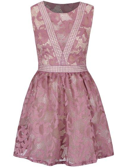 Krémovo-fialové krajkované šaty bez rukávů Little Mistress
