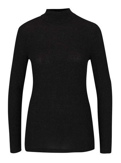 Černé žíhané tričko s rolákem a dlouhým rukávem ONLY Yasha