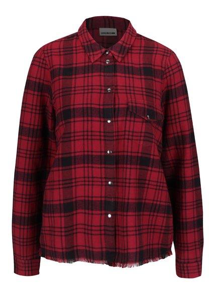 Čierno-červená károvaná košeľa s rozstrapkaným okrajom Noisy May Erik