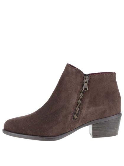 Hnědé semišové kotníkové boty na zip Tamaris