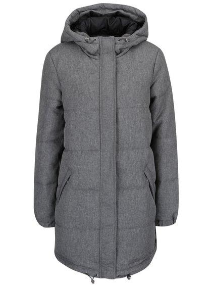 Šedý prošívaný kabát s kapucí VERO MODA Ricarda