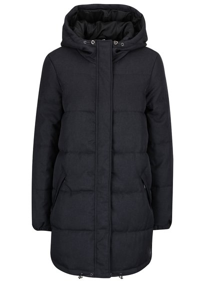 Tmavě šedý prošívaný kabát s kapucí VERO MODA Ricarda