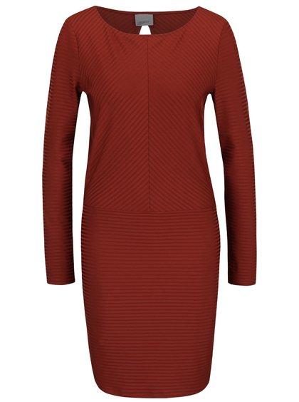 Cihlové žebrované šaty s dlouhým rukávem Vero Moda Dina