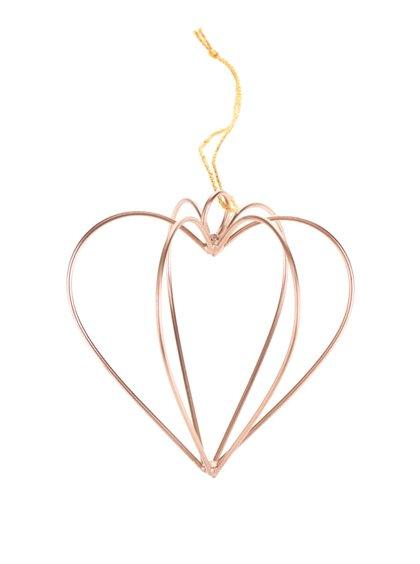 Závěsná měděná dekorace ve tvaru srdce Sass & Belle
