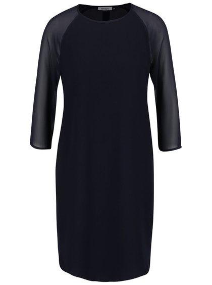 Tmavomodré voľnejšie šaty s pruesvitnými 3/4 rukávmi ONLY Turner
