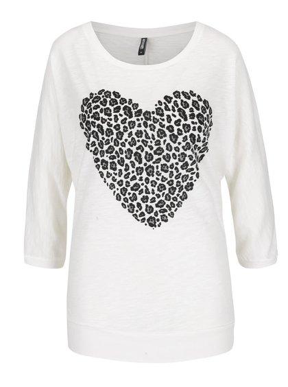 Krémové tričko s netopýřími rukávy a potiskem srdce Haily´s Helen