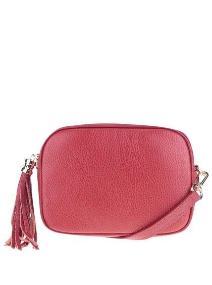 Červená kožená crossbody kabelka se střapcem ZOOT