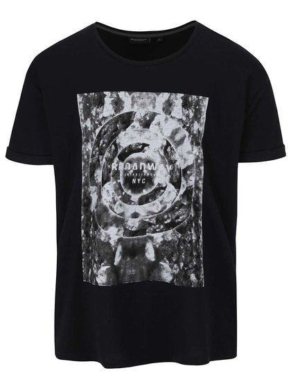 Tricou negru Broadway din bumbac cu print pentru bărbați