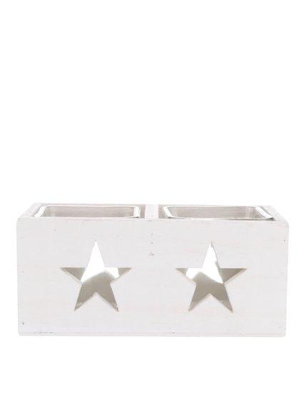Biely dvojitý drevený svietnik Dakls Hviezdy