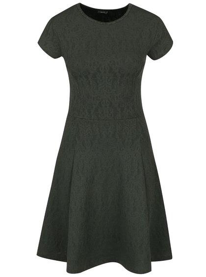 Tmavě zelené šaty s jemným plastickým vzorem ZOOT