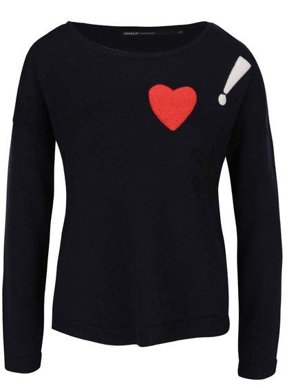 Tmavomodrý sveter s farebnými nášivkami ONLY Kenji