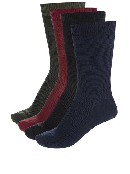 Súprava štyroch párov ponožiek vo vínovej, čiernej, modrej a kaki farbe Jack & Jones Freddy