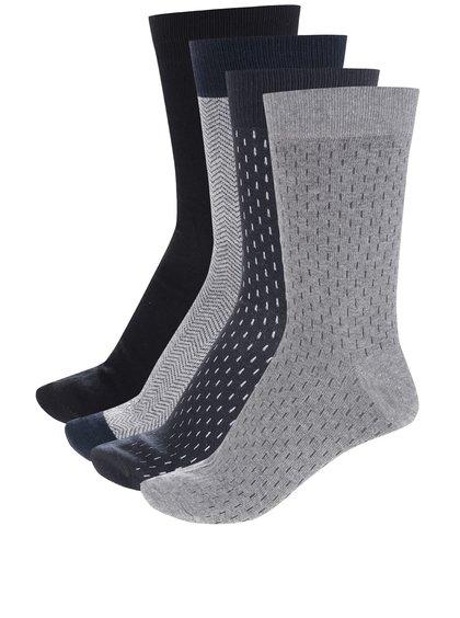 Set de 4 perechi de șosete gri & albastru & negru Jack & Jones Harry