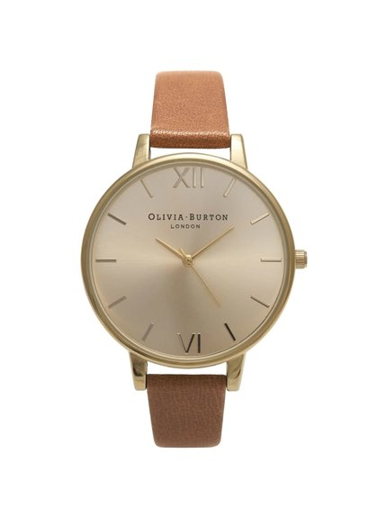 Svetlohnedé hodinky s ciferníkom v zlatej farbe Olivia Burton