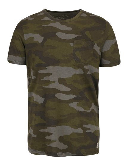 Zelené maskáčové tričko s vreckom Jack & Jones Vam Bob