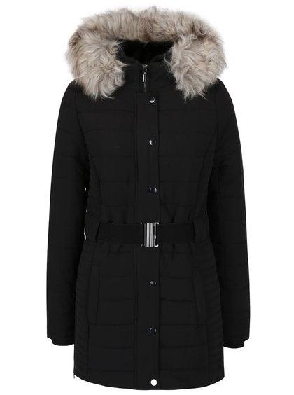 Čierny kabát s kapucňou a umelým kožúškom TALLY WEiJL