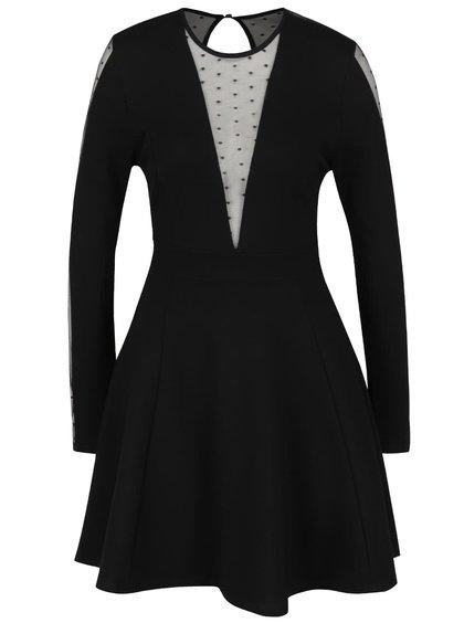 Černé šaty s průhledným výstřihem TALLY WEiJL