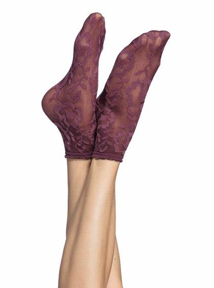 Vínové silonkové ponožky s kvetinovým vzorom Oroblu Lorelie