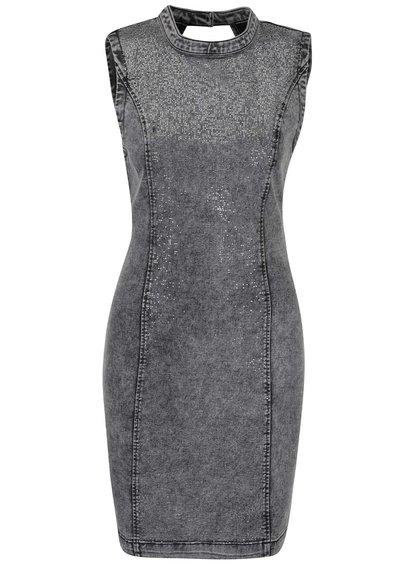 Šedé krátké džínové šaty se třpytivou aplikací VERO MODA Shine