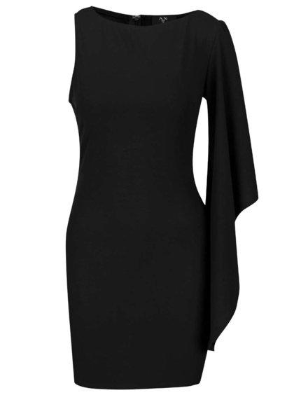 Černé asymetrické šaty se zvonovým rukávem AX Paris