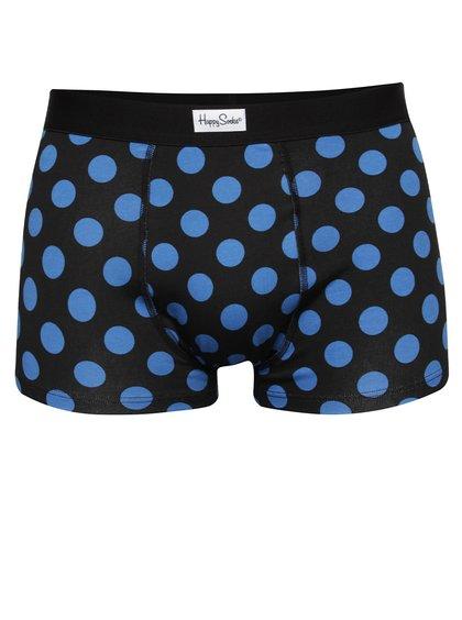 Černé boxerky s modrými puntíky Happy Socks Big Dot