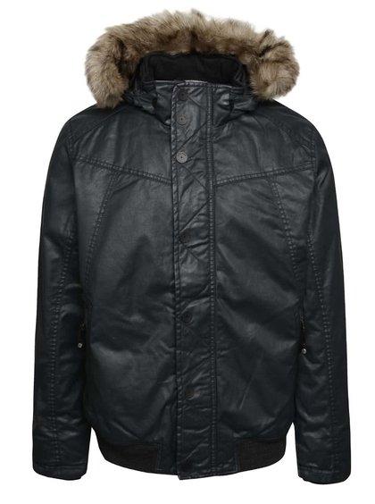 Tmavosivá pánska lesklá bunda s umelou kožušinou s.Oliver