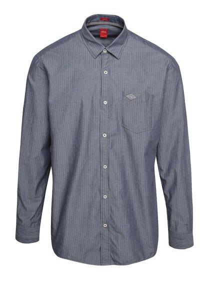 Šedo-modrá pruhovaná pánská košile s.Oliver