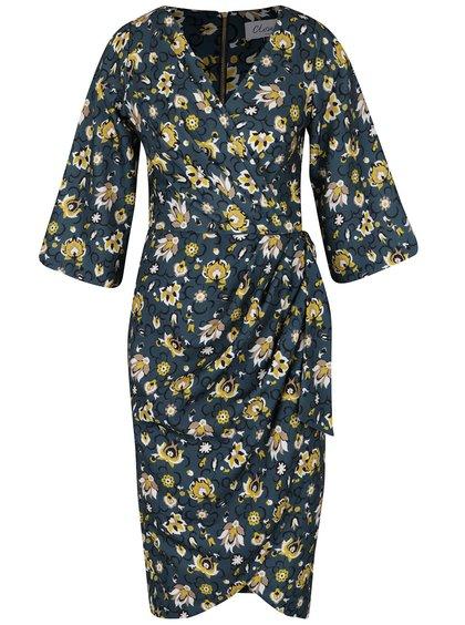 Petrolejové šaty s květovaným vzorem a 3/4 rukávem Closet
