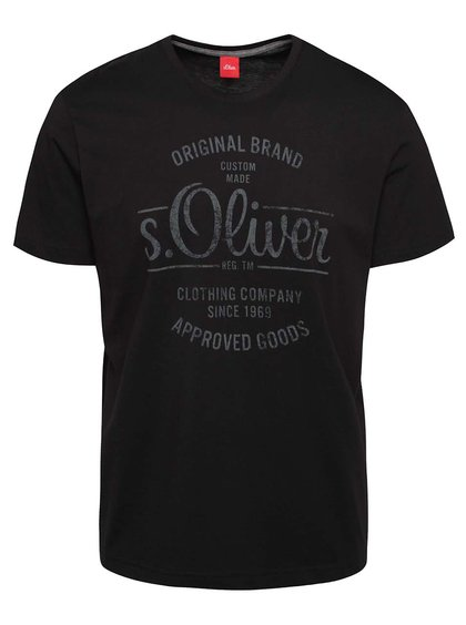 Tricou negru cu imprimeu s.Oliver