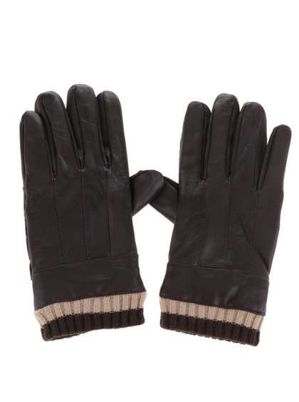 Hnedé pánske kožené rukavice s úpletom Something Special