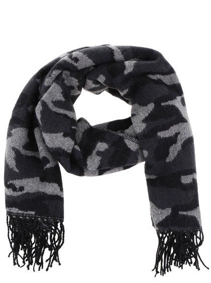 Sivo-čierny pánsky šál so vzorom Something Special